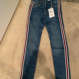 NWT Zara skinny jean with red and green stripe